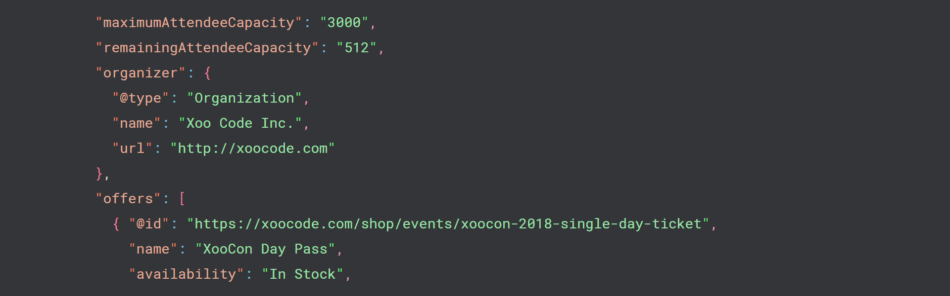 A screenshot of proper markup for the Schema Event.