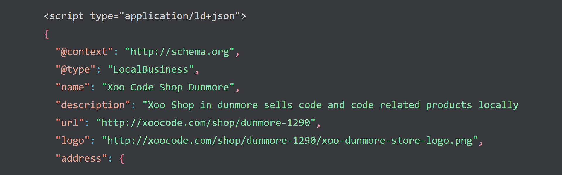 A screenshot of proper markup for the Schema LocalBusiness.